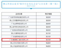 """博德被佛山市拟定为""""细分行业龙头企业""""名单之列(第一批)"""